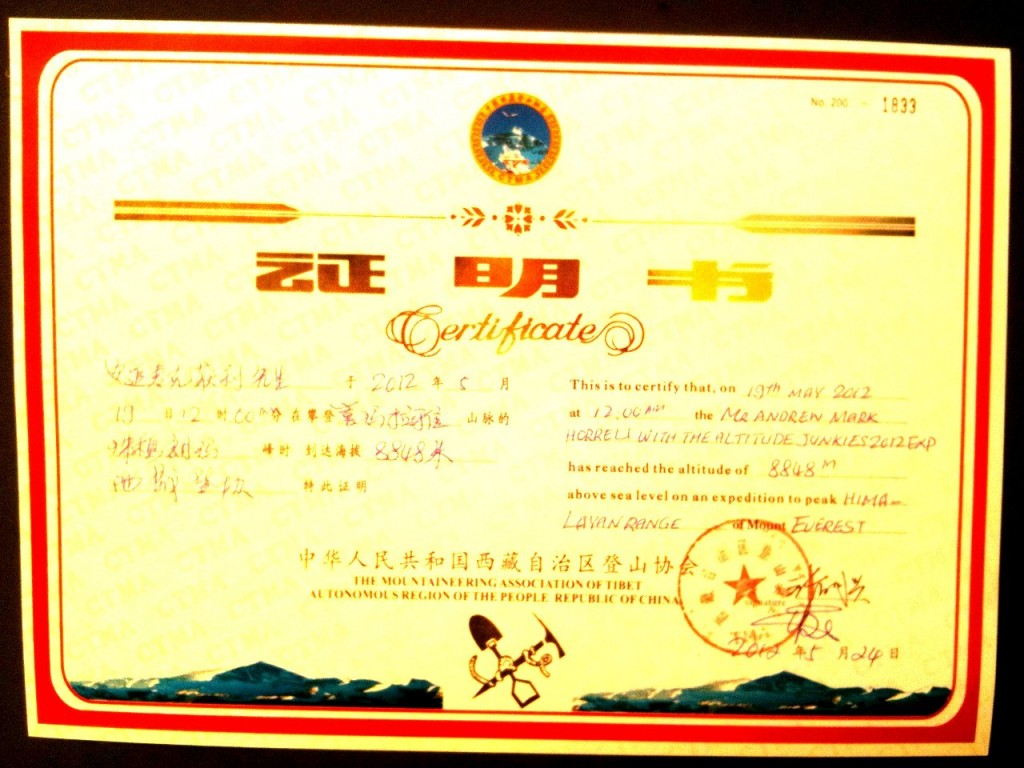 A summit certificate should do the job, shouldn't it? Here's my Everest one, stamped and signed by the China Tibet Mountaineering Association.