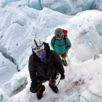 Sherpa and client in the Khumbu Icefall. A hazardous place, for sure, but not to be confused with the front line in Iraq (Photo: Edita Nichols)