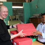 And here I am giving some donated training materials to Shree Buddha School Principal Ragunath Baniya (Photo: CHANCE)