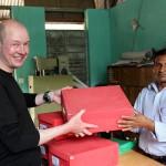 And here I am giving some donated training materials to Shree Buddha School Principal Ragunath Baniya (Photo: CHANCE)