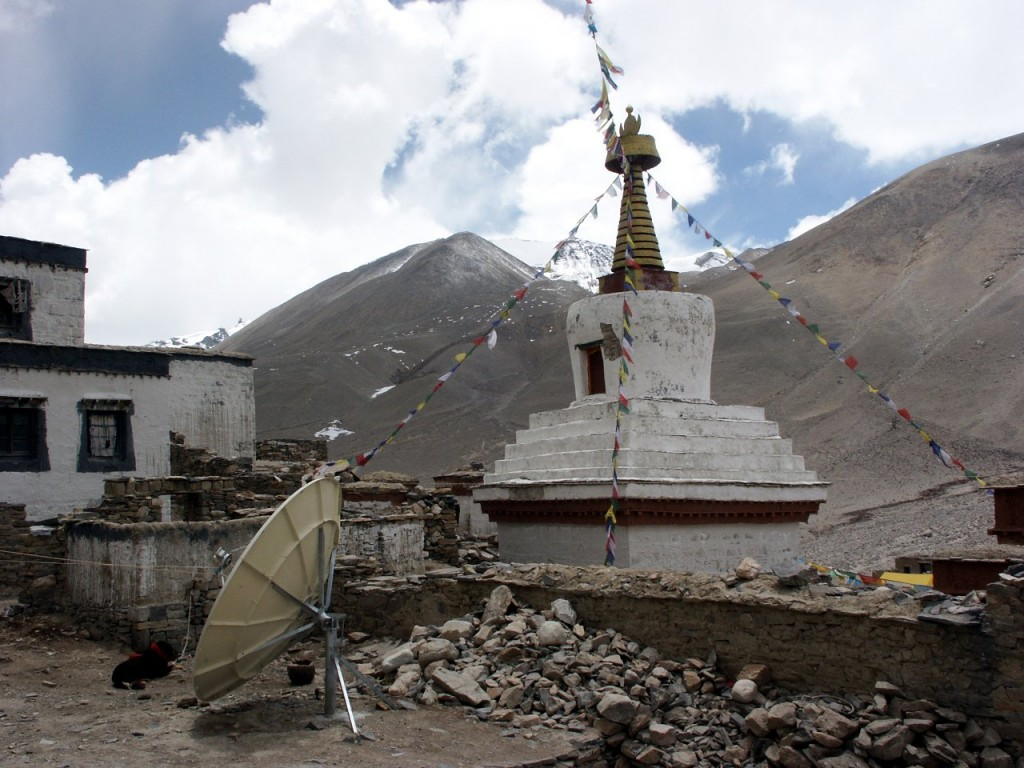 Is this satellite dish at the Rongbuk Monastery on Everest's north side providing 2Mbps broadband?
