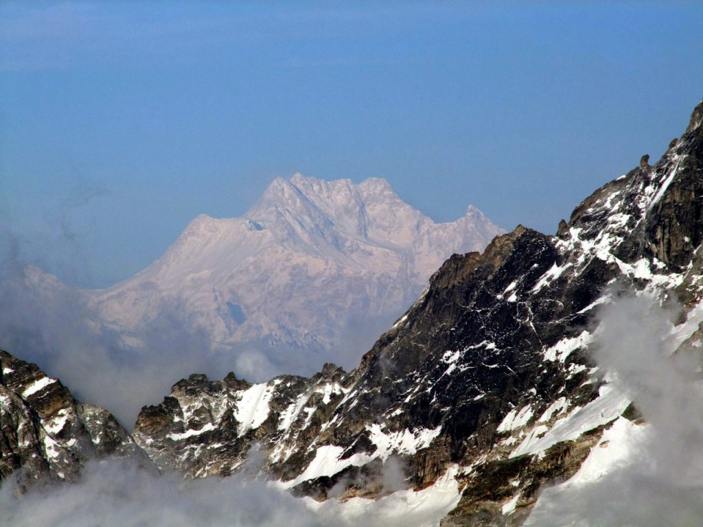 A distant shot of Kangchenjunga taken from high camp on Mera Peak