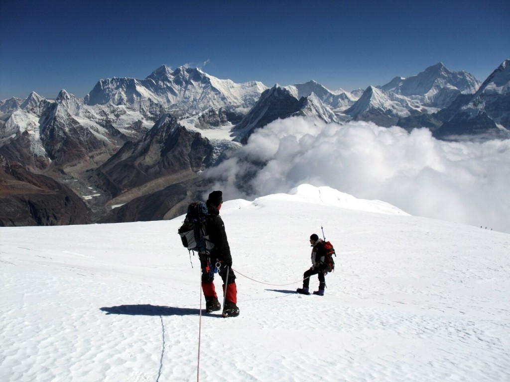 Descending from the summit of Mera Peak, one of the best known and most popular Nepalese trekking peak
