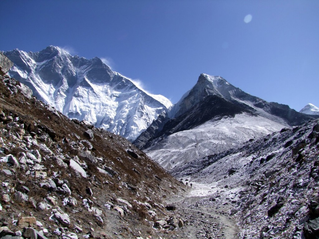 Will Island Peak (right) become as difficult to obtain permission to climb as Lhotse (left)?