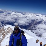 Chedar Sherpa on the summit of Manaslu, as Ian, Chongba and I approach below (Photo: Karel Masek)