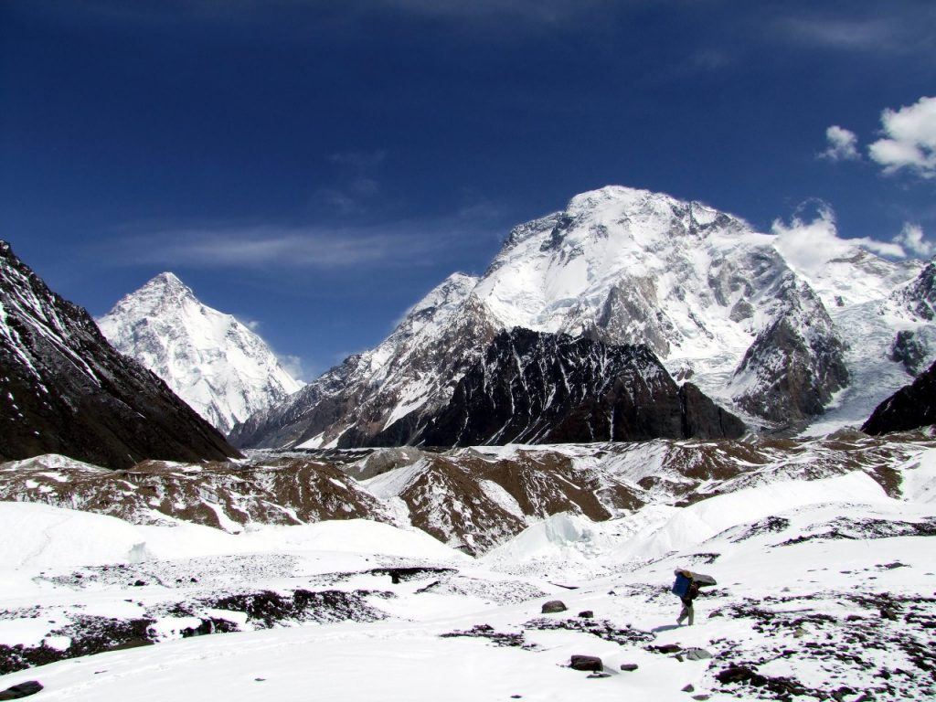 K2 (8611m) and Broad Peak (8047m) from Concordia
