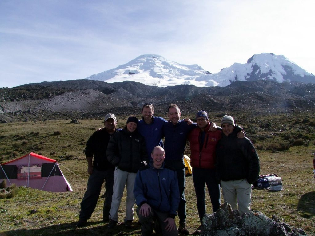 Our team at the foot of Antisana after our climb in 2009. I'm the one in the marriage-proposal position, while Ramiro is the chap with big glasses.