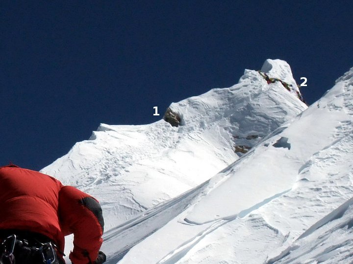 Manaslu's final summit ridge