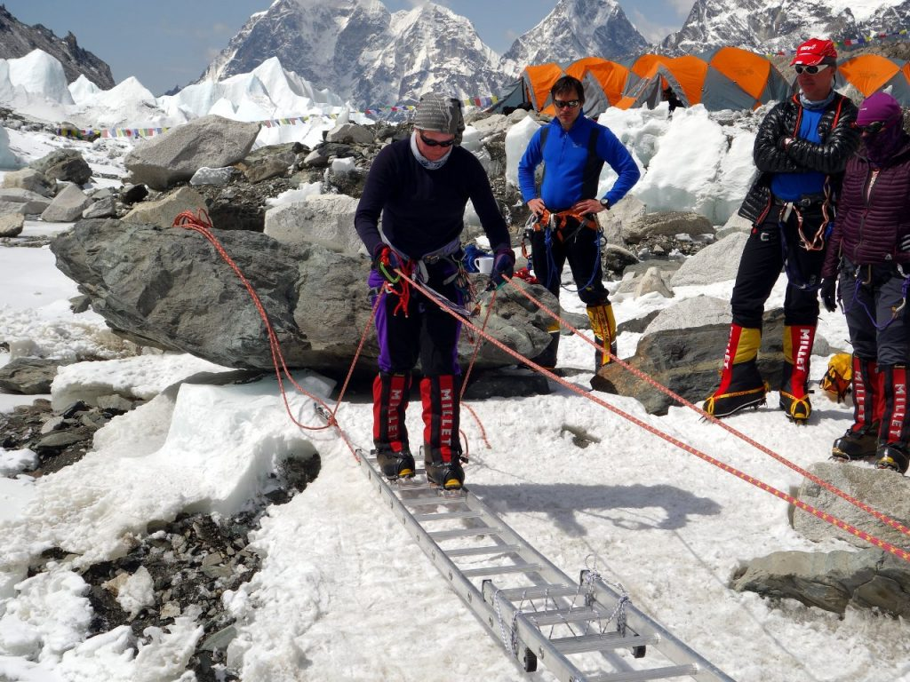 Skills training at Everest Base Camp has become more common as less experienced people arrive to climb Everest each year