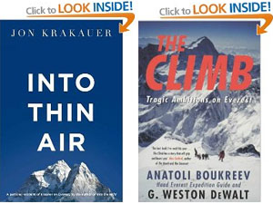 The books which triggered the avalanche. They're not bad, but really, haven't we heard enough about the sodding 1996 Everest disaster?