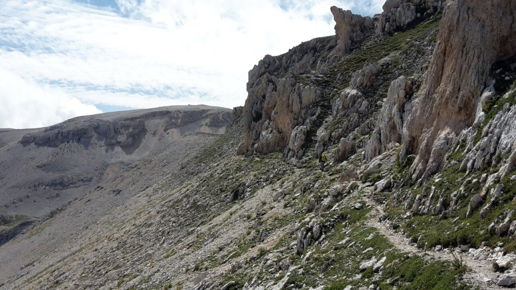 The approach to Monte Amaro from the north includes a traverse beneath the rocky summit ridge of Cima dei Tre Portoni