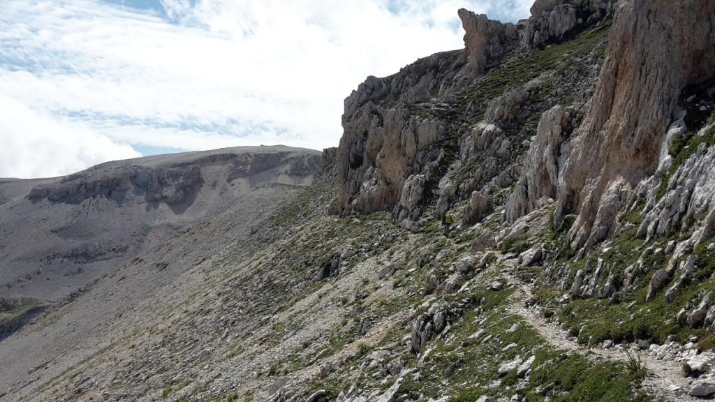 The approach to Monte Amaro from the north includes a traverse beneath the rocky summit ridge of Cima dei Tre Portoni