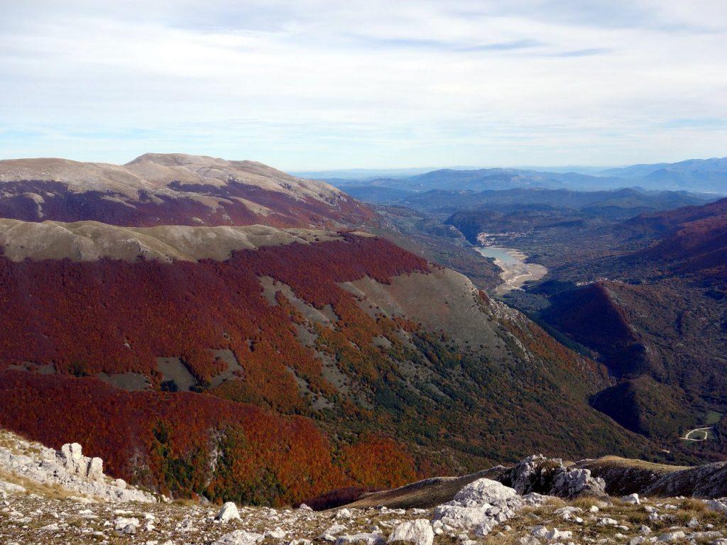 Monte Greco and Lago di Barrea from Monte Forcone