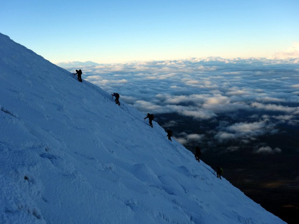 Climbers on their way up Chimborazo