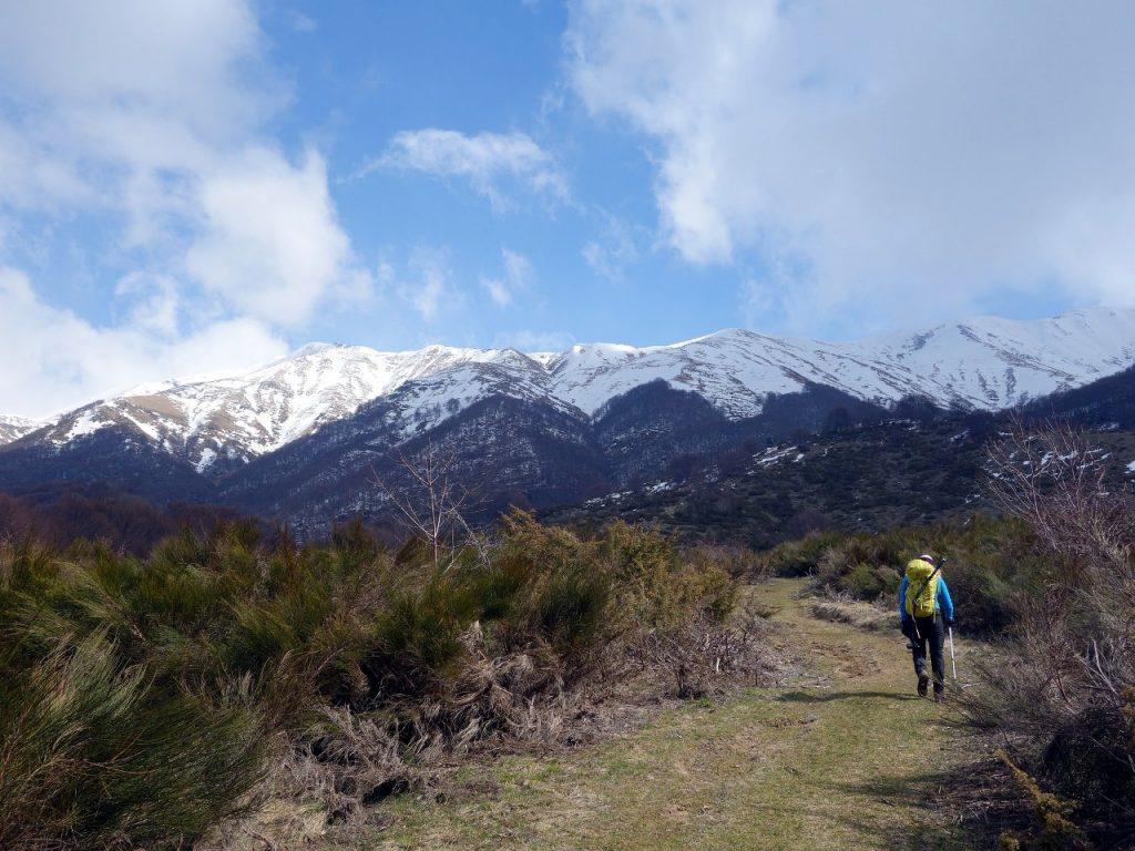 On a trail near Campotosto, with the Monti della Laga ridge ahead