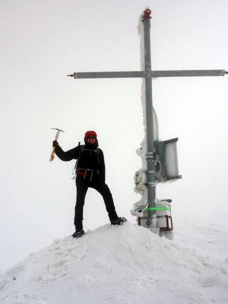 On the summit of Monte di Mezzo in a white out