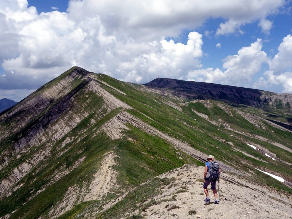 Approaching the multiple summits of Cima della Laghetta, with Monte Gorzano behind