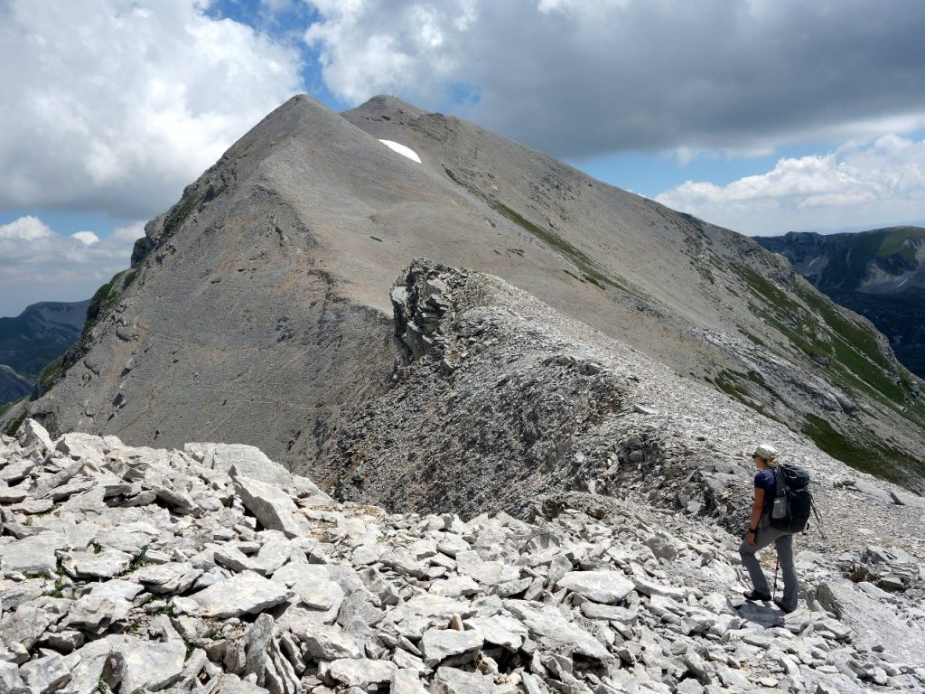 The main summit of Pizzo d'Intermesoli from just below the north peak