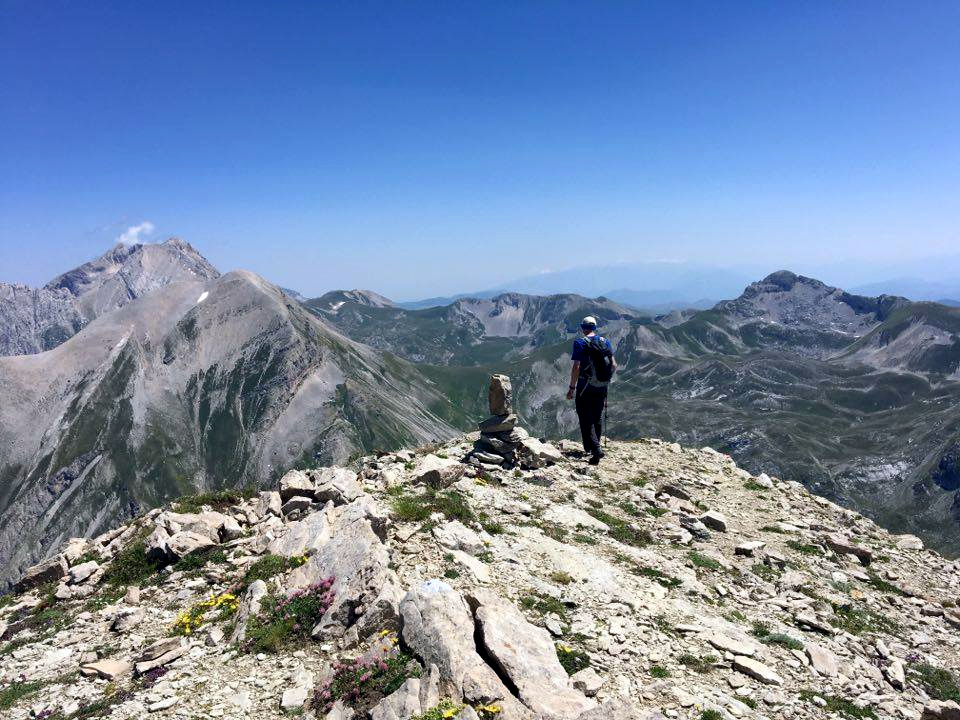 On Monte Corvo's summit, with rocky peaks, emerald green basins and horseshoe ridges to the east (Photo: Edita Nichols)