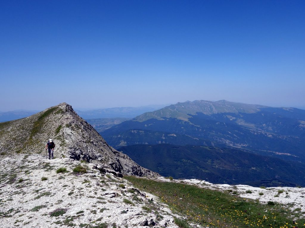 On Monte Corvo's summit ridge, with the west peak and Monte Gorzano behind
