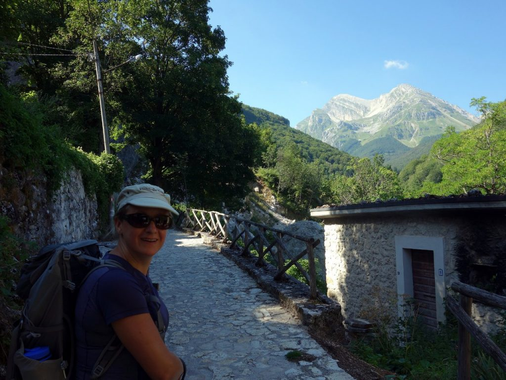Edita prepares to leave for Pizzo d'Intermesoli from Pietracamela