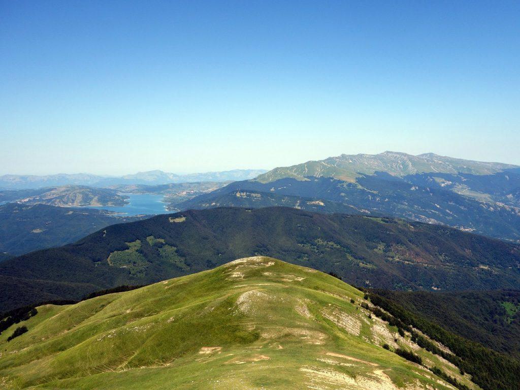 Monti della Laga seen from Monte Corvo in the Gran Sasso range, with Lago di Campotosto on the left and Monte Gorzano in the distance to the right