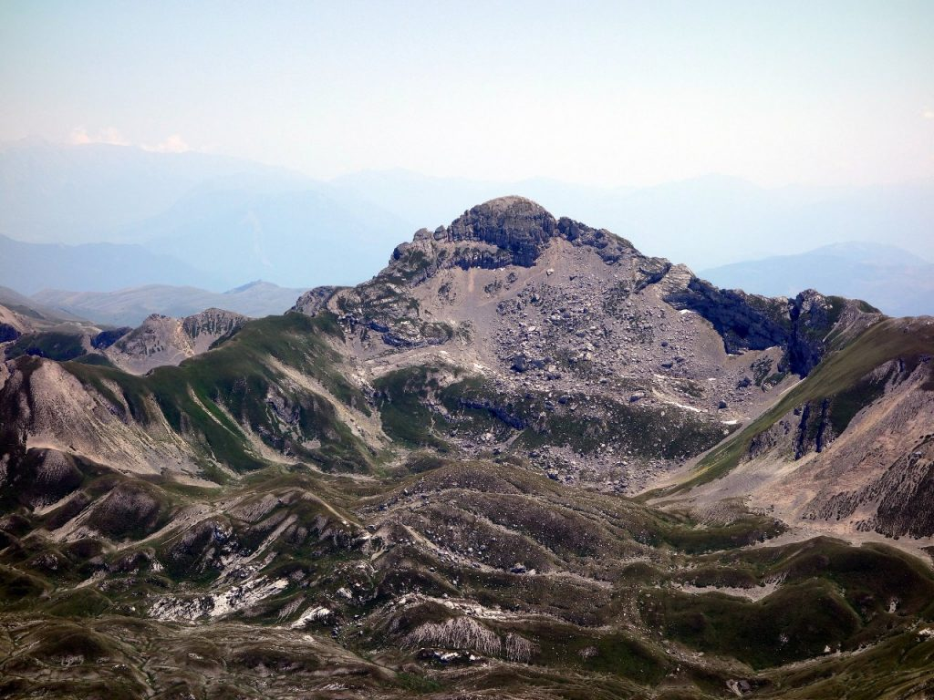 Pizzo Cefalone seen from Monte Corvo. The north ridge (left skyline) is a tricky scramble.