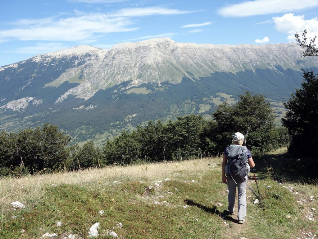Pleasant walking on Monte Morrone, with the Maiella plateau across the valley