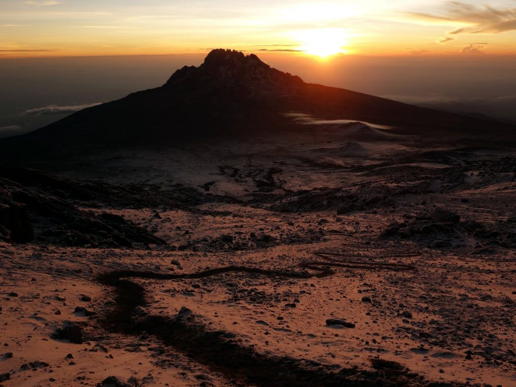 Setting off three or four hours after everyone else on Kilimanjaro didn't prevent us seeing this amazing sunrise over Mawenzi when we were only a short distance out of camp