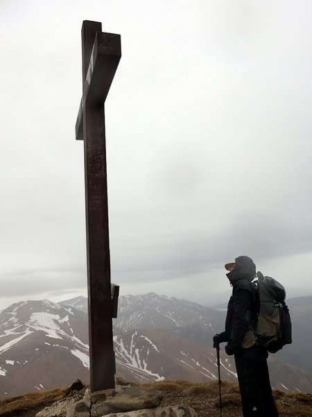 Standing on the summit of Pizzo di Sevo in a gale, with Cima Lepri across the col
