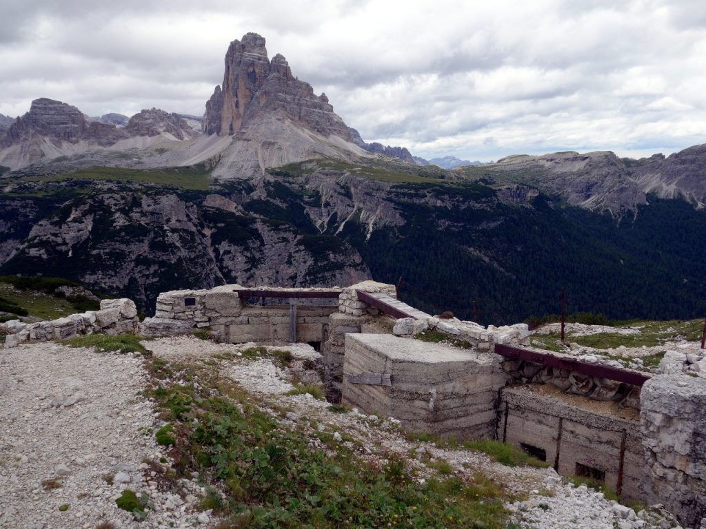 Old World War I bunk on the summit of Monte Piana, with the Tre Cime di Lavaredo in the background