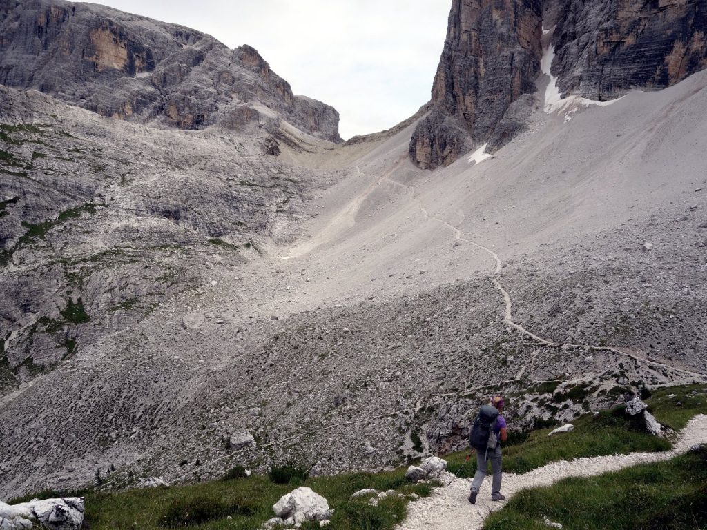 Beyond Comici Hut we could see another scree trail climbing up to a pass
