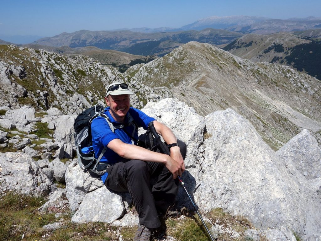 Me on the summit of Monte Marsicano Est, with Monte Ninna and the subsidiary ridge behind