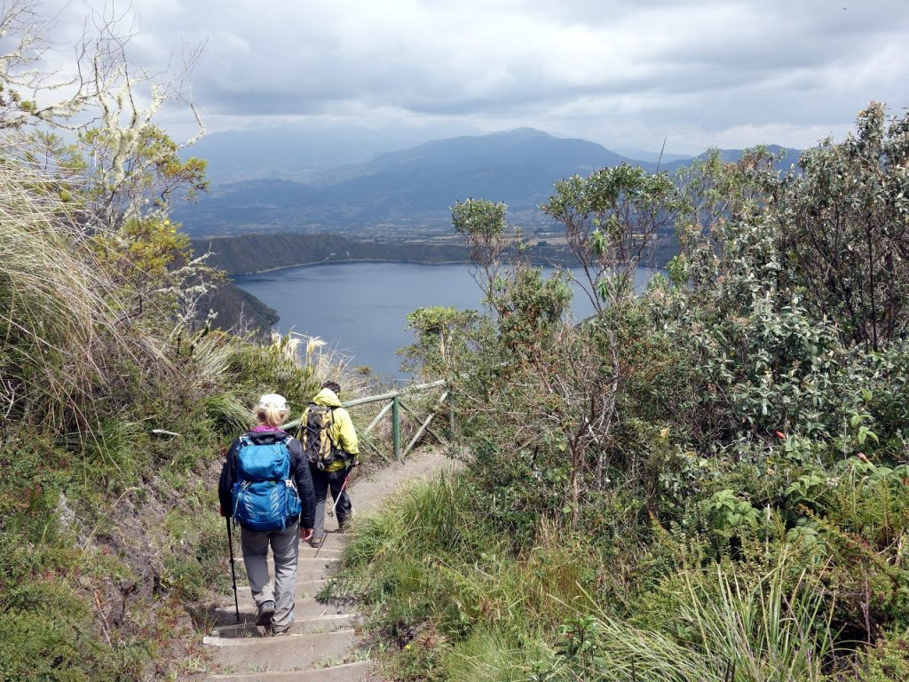On the trail around Cuicocha's crater rim