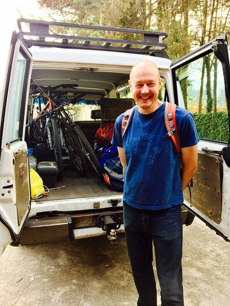 Preparing to depart from Quito with our bikes and bags all packed. The smile didn't last long (Photo: Edita Nichols).