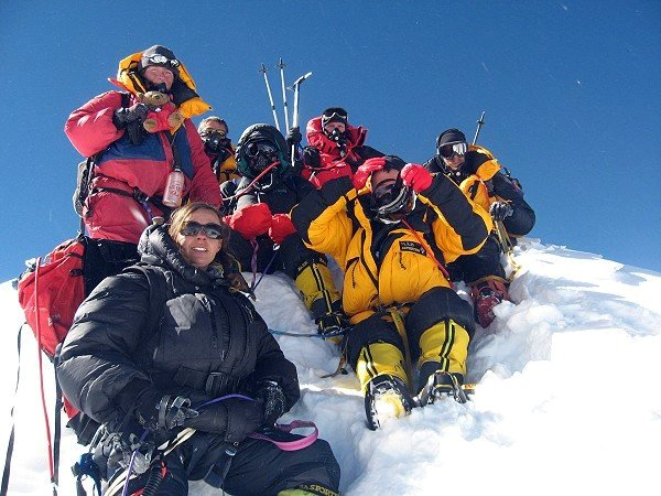 Bunter and team on Manaslu's fore-summit in 2008 - that's Bunter's little head of hair poking up at the back (Photo: Mingma Sherpa / Jagged Globe)