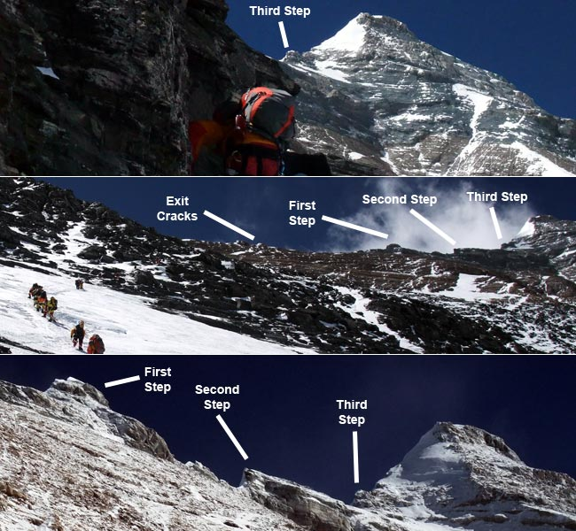 Changing view of Everest's three Steps during the climb from Camp 2 to Camp 3