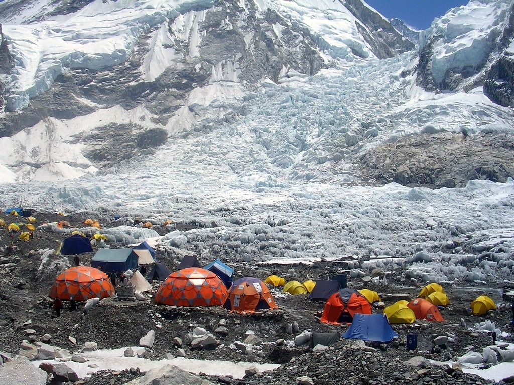 Everest Base Camp in Nepal, with the Khumbu Icefall behind (Photo: The Responsible Travellers)