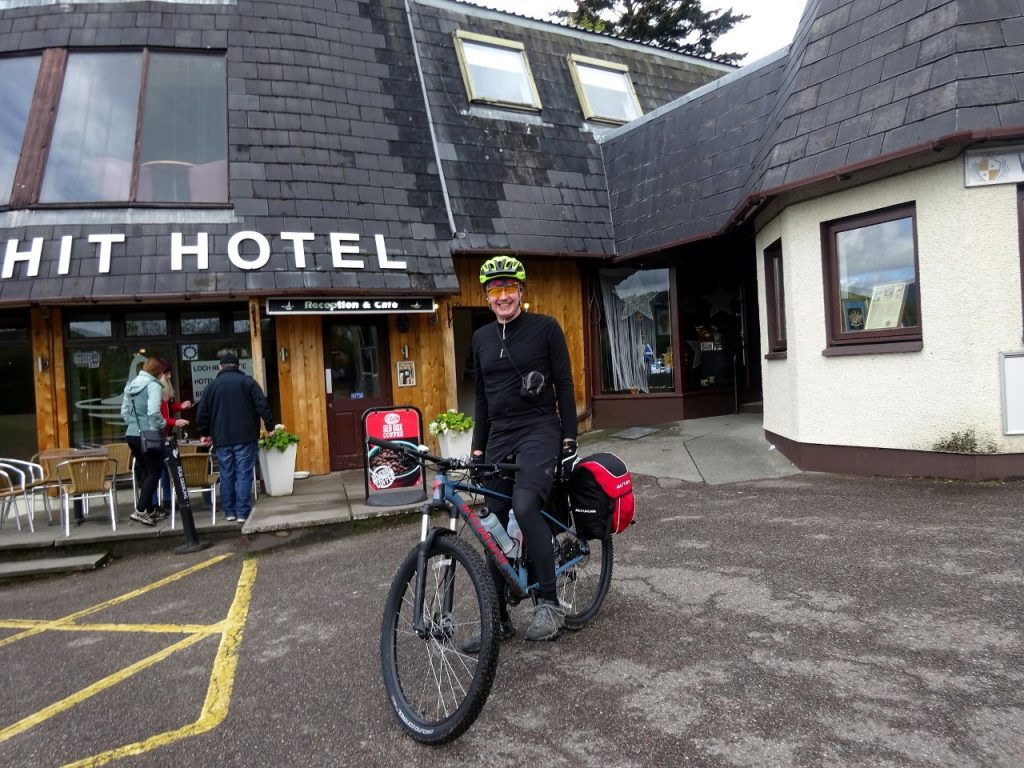 Preparing to leave on day 2. That's the Drumnadrochit Hotel behind me, not - as you're probably thinking - the Shit Hotel