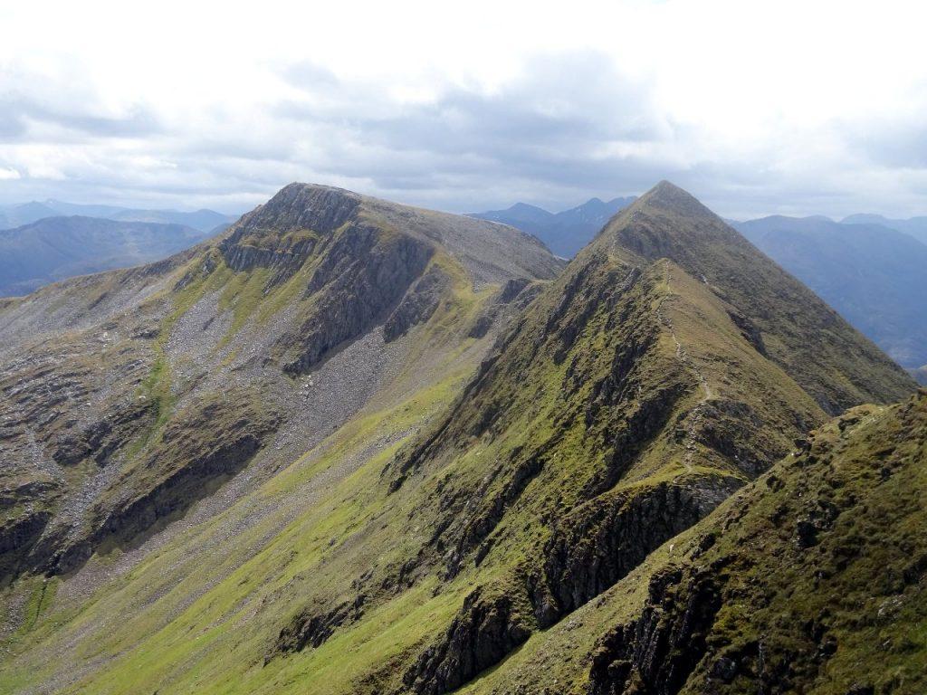 View back along the Devil's Ridge (Stob Choir a Mhail) from Sgurr a Mhaim