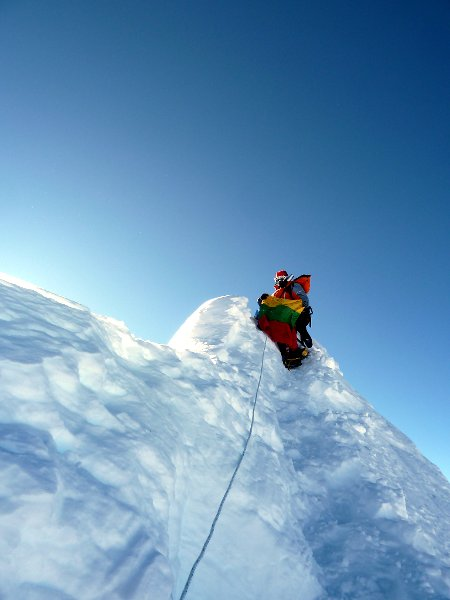 Edita on the summit of Manaslu in 2012 (Photo: Edita Nichols)