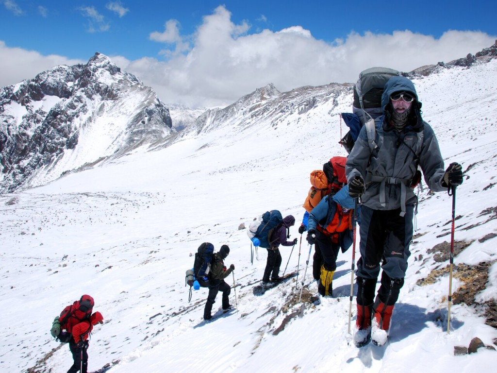 Take pride in being slow, and you may even gain some followers. Here am I on Aconcagua's False Polish Glacier Route (Photo: Augusto Ortega).