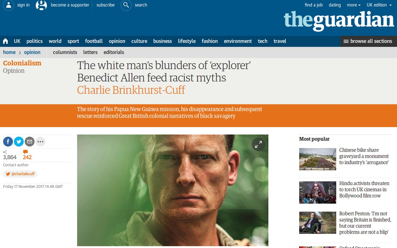 Benedict Allen: a racist and not a real explorer, according to The Guardian