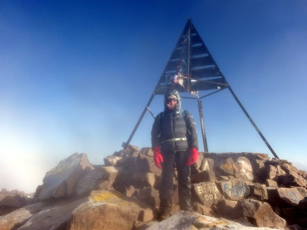 A frosty Edita on the summit of Toubkal