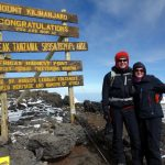 Mark Horrell and Edita Nichols on the summit of Kilimanjaro, 29 December 2016
