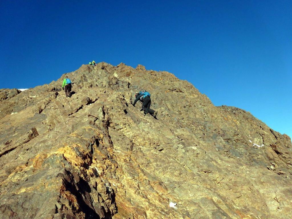 Scrambling up the east ridge of Ouanoukrim