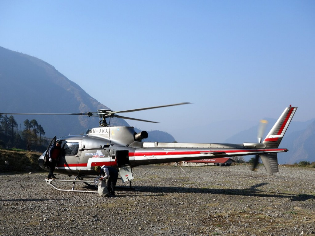 Significant numbers of people are now taking helicopters to Lukla instead of relying on the aircraft