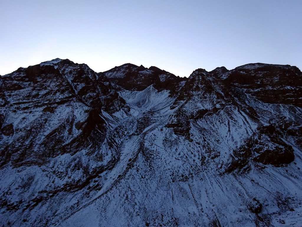 Looking up the north-west couloir to Imouzzer (4,010m), Toubkal (4,167m) and Toubkal West (4,030m), seen from the trail up to Tizi Aguelzim