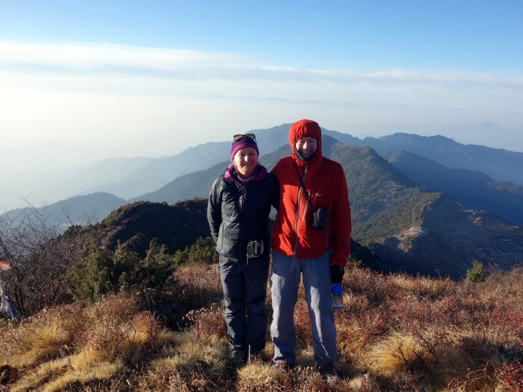 Edita and me on top of Helambu Hill, with Tharepati below, and the line of forested hills that form the Helambu ridge stretching out behind us back to Kathmandu