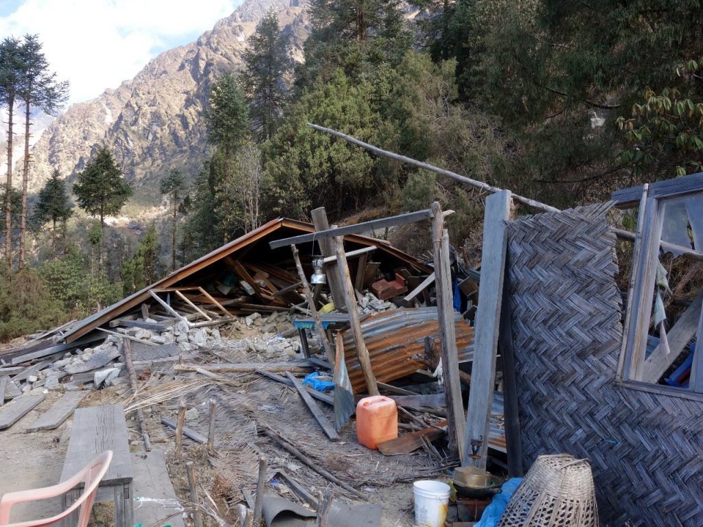 Teahouse destroyed in the 2015 Nepal earthquake